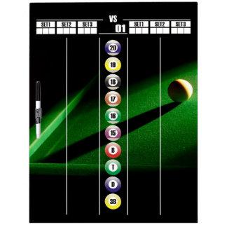 Billiards and Gameroom Darts Scoreboard Dry Erase Board