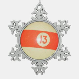 Billiards Ball #13 Pewter Snowflake Decoration