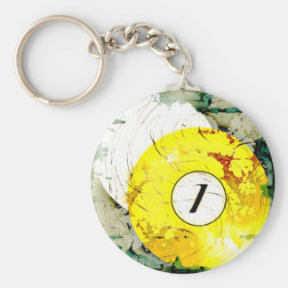 BILLIARDS BALL NUMBER 1 BASIC ROUND BUTTON KEY RING