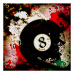 BILLIARDS BALL NUMBER 8 POSTER
