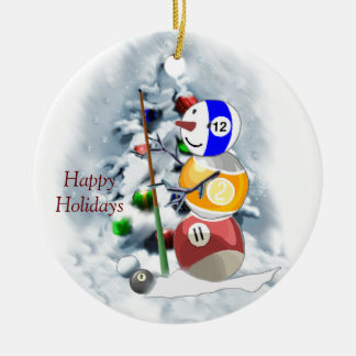 Billiards Ball Snowman Christmas Christmas Ornament