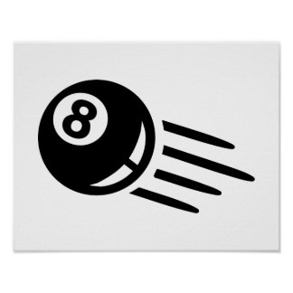 Billiards eight ball poster