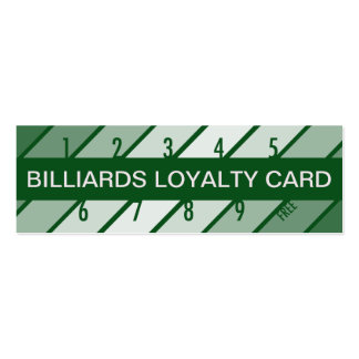 billiards loyalty card (retrograde) pack of skinny business cards