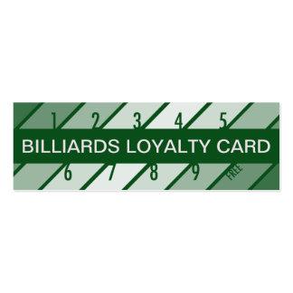 billiards loyalty card (retrograde) pack of skinny business cards