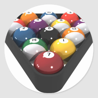 Billiards / Pool Balls Racked: Classic Round Sticker