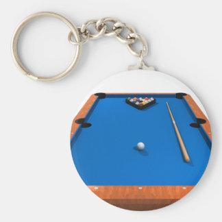 Billiards / Pool Table: Blue Felt: Basic Round Button Key Ring