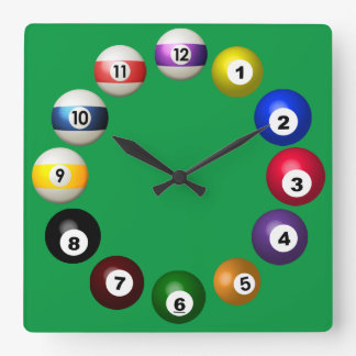 Billiards Room Fun Square Wall Clock