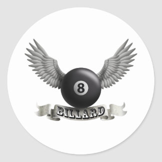 Billiards wings A Classic Round Sticker
