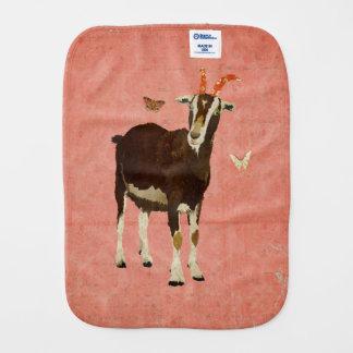 Billy Goat & Butterflies Pink Burp Cloth