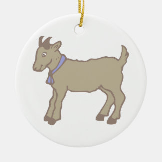 Billy Goat Round Ceramic Decoration