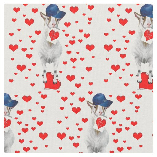 Billy Goat with Valentines and Red Hearts Fabric