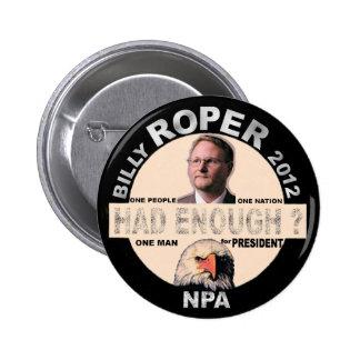 Billy Roper for president 2012 6 Cm Round Badge