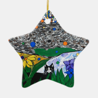 billy the cat and his secret garden ceramic star decoration