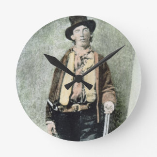 Billy the Kid (coloured engraving) Round Clock