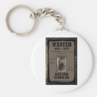 Billy The Kid Wanted Dead or Alive Poster Basic Round Button Key Ring