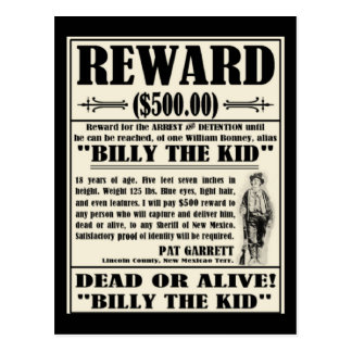 Billy the Kid Wanted Poster Post Card