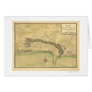 Biloxi Mississippi Fortification Map 1721 Card
