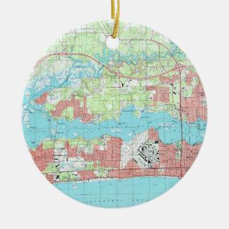 Biloxi Mississippi Map (1992) Christmas Ornament
