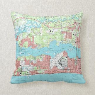 Biloxi Mississippi Map (1992) Cushion