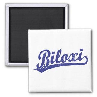 Biloxi script logo in blue square magnet