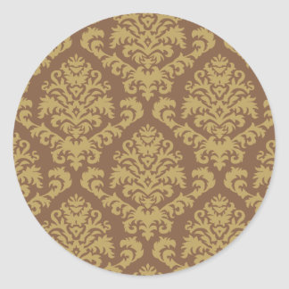 BILTMORE DAMASK in TOFFEE and CHOCOLATE Round Sticker