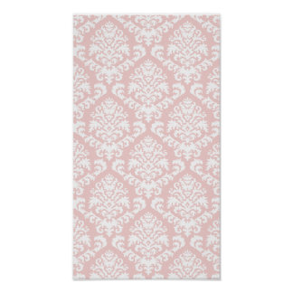 BILTMORE DAMASK in WHITE and BLUSH PINK Poster