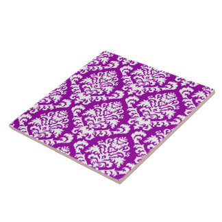 BILTMORE DAMASK in WHITE and LILAC Large Square Tile