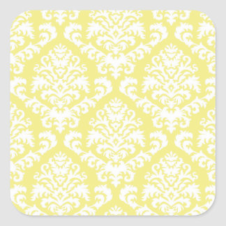 BILTMORE DAMASK in WHITE on YELLOW Square Sticker