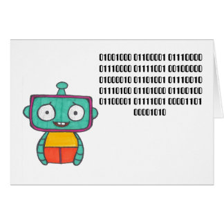Binary Code Happy Birthday Card - Robot