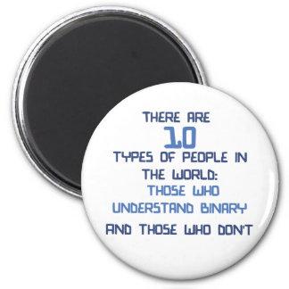 binary joke 6 cm round magnet