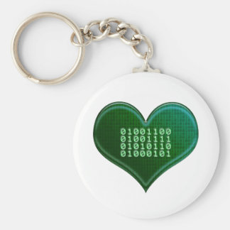 Binary LOVE Basic Round Button Key Ring