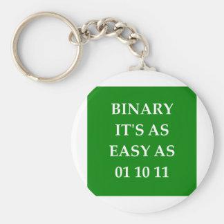 binary math basic round button key ring