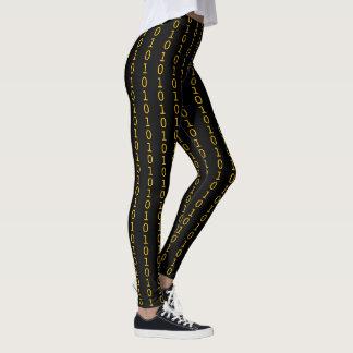 binary orange pattern on black leggings