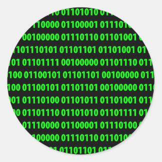 Binary Round Sticker