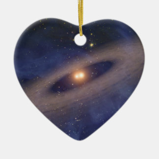Binary Star Solar System Space Art Ceramic Heart Decoration