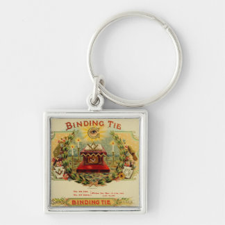 Binding Tie Silver-Colored Square Key Ring