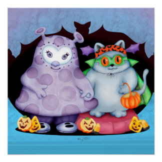 BINETTE & MELO ALIEN CUTE CARTOON  PERFECT POSTER