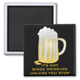 BINGE DRINKING SQUARE MAGNET