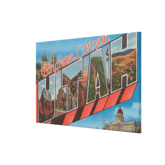 Bingham Canyon, Utah - Large Letter Scenes Canvas Print