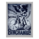 Bingham & Co. Velocipedes Vintage Bicycle Poster