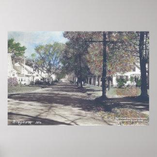 Bingham, Maine - Fall Scene on Main Street Poster