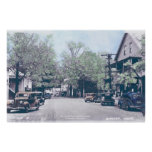Bingham Maine - Main Street with Old Cars Poster