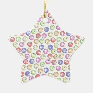 Bingo Balls Double-Sided Star Ceramic Christmas Ornament