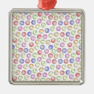 Bingo Balls Silver-Colored Square Decoration