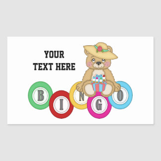 Bingo Bear (personalized) Rectangular Sticker