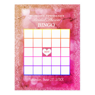 Bingo Card |Rose Glitter Lights
