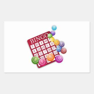 BINGO Card with BINGO Balls Rectangular Sticker
