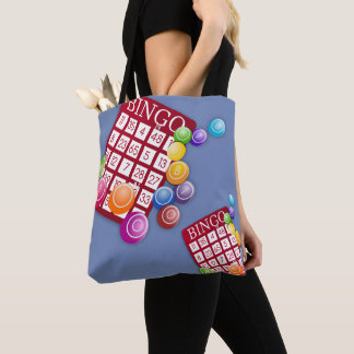 Bingo Cards And Markers Print Tote Bag Blue