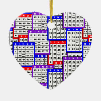 Bingo Cards pattern Ceramic Heart Decoration