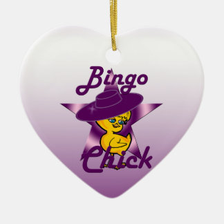 Bingo Chick #9 Ceramic Heart Decoration